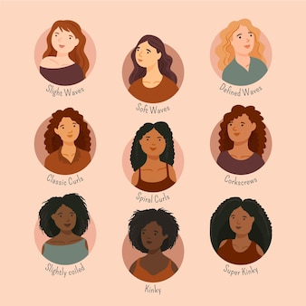 Hand drawn curly hair types