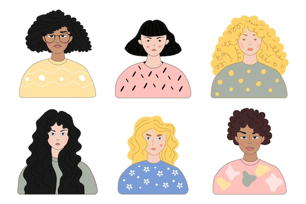 Типы рисованной вьющиеся волосы Premium векторы
