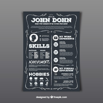 Hand drawn curriculum template with vintage style