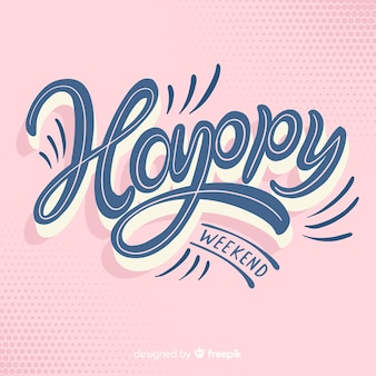 Hand drawn curved text weekend greeting