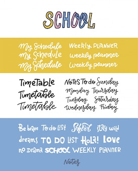 Hand drawn custom lettering of the days of the week for your designs. handwritten text for your weekly plannes, school timetable.