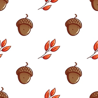 Hand drawn cute acorns and autumn leaves seamless pattern background