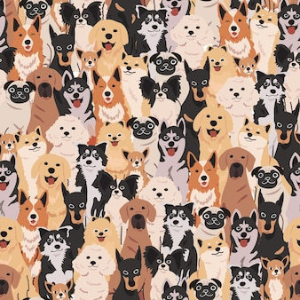 Hand drawn cute and adorable dog doodle seamless pattern