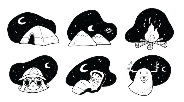Hand drawn cute and adorable night camping doodle style illustration
