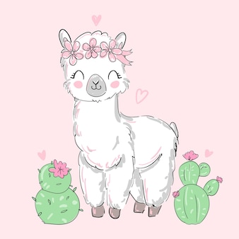 Рисованной милые альпака, ламы и цветы