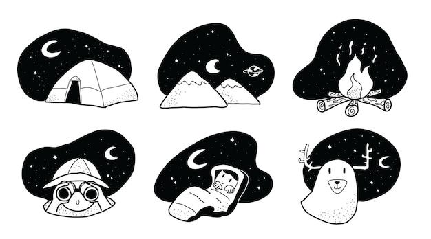 손으로 그린 귀엽고 사랑스러운 야간 캠핑 두들 스타일 일러스트레이션