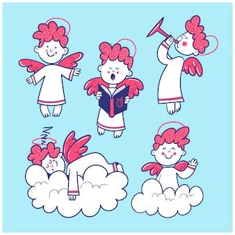 Набор рисованной милые ангелы