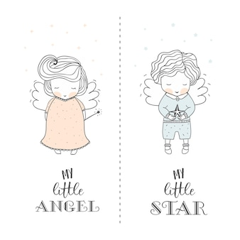 Hand drawn cute angels