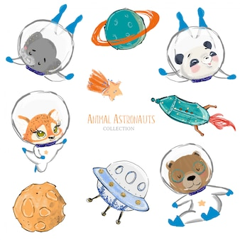 Hand drawn cute animal astronauts with space elements