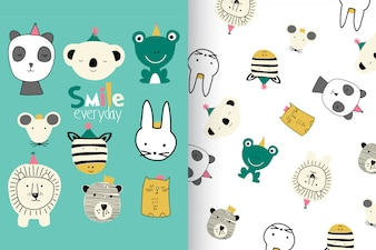 Hand drawn cute animal head with pattern set