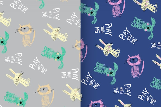 Hand drawn cute animal pattern vector set
