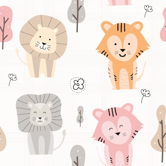 Hand drawn cute animal seamless pattern
