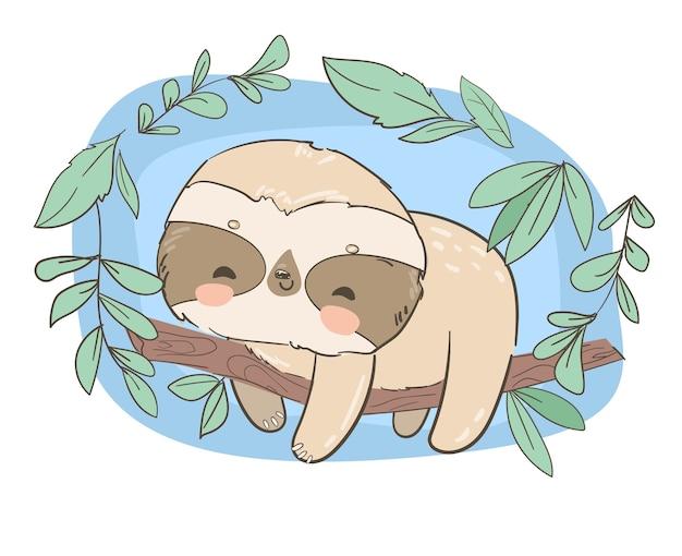 木のイラストに手描きのかわいい動物ナマケモノ