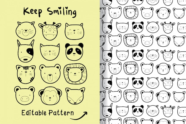Hand drawn a cute animal with editable pattern
