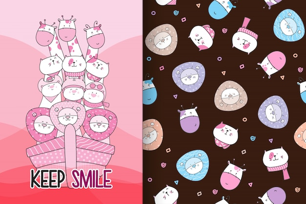 Hand drawn cute animal with pattern vector set-vector
