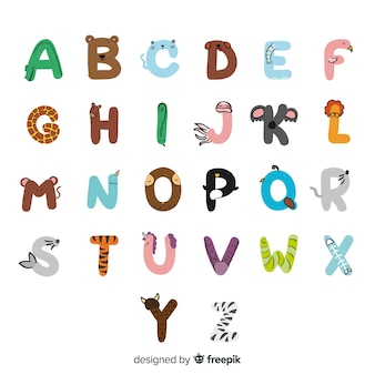 Hand drawn cute animals alphabet