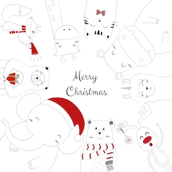 Hand drawn of a cute animals are celebrating christmas.