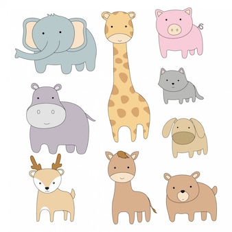 Hand drawn cute animals cartoon flat design