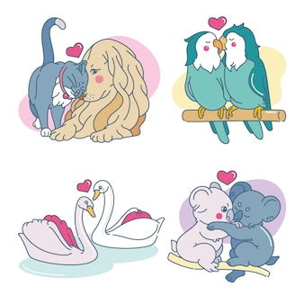 Hand drawn cute animals in love