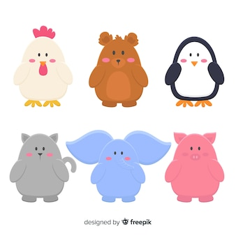 Hand drawn cute animals set