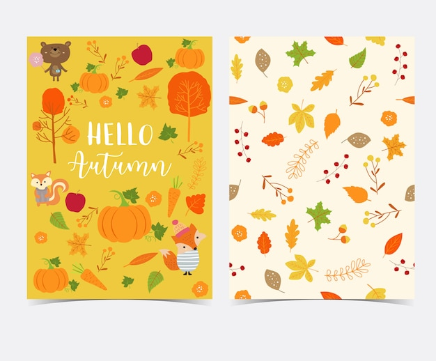 Hand drawn cute autumn card and seamless pattern with flower, leaf, fox, red house, apple, pumpkin and squirrel