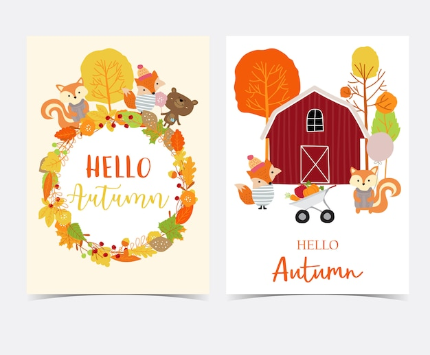 Hand drawn cute autumn card with flower, leaf, fox, red house, apple, pumpkin,wreath and squirrel