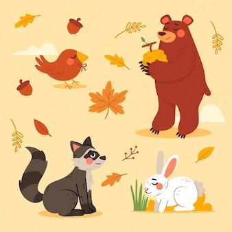 Hand drawn cute autumn forest animals