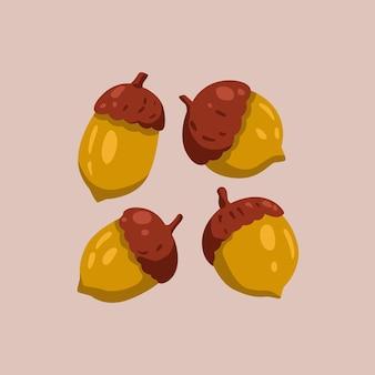 Ручной обращается милый осенний орех. плоская иллюстрация