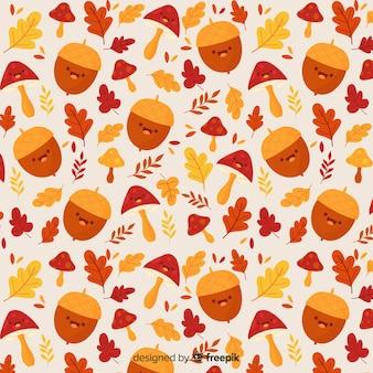 Hand drawn cute autumn pattern