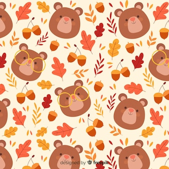 Hand drawn cute autumn pattern