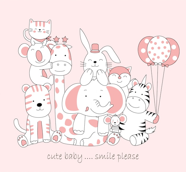 Hand drawn cute baby animal. cartoon sketch animal style