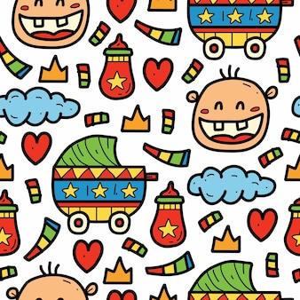 Hand drawn cute baby cartoon doodle pattern design