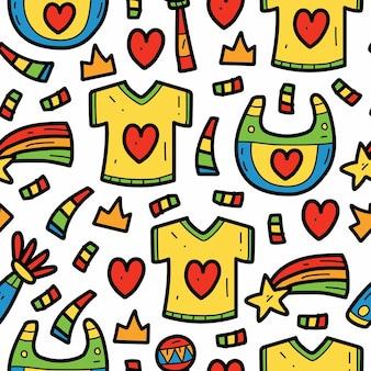손으로 그린 귀여운 아기 만화 낙서 패턴 디자인