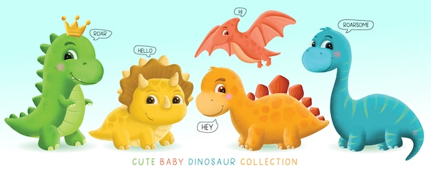 Hand drawn cute baby dinosaur set illustration
