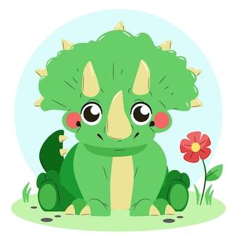 손으로 그린 귀여운 아기 공룡