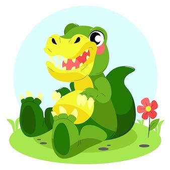 手描きのかわいい赤ちゃん恐竜