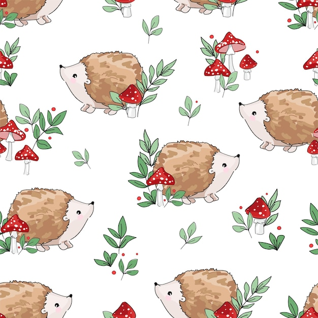 Hand drawn cute baby hedgehog and mushrooms pattern