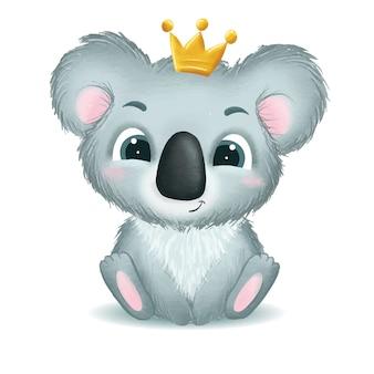 Нарисованная рукой иллюстрация медведя коалы милого младенца