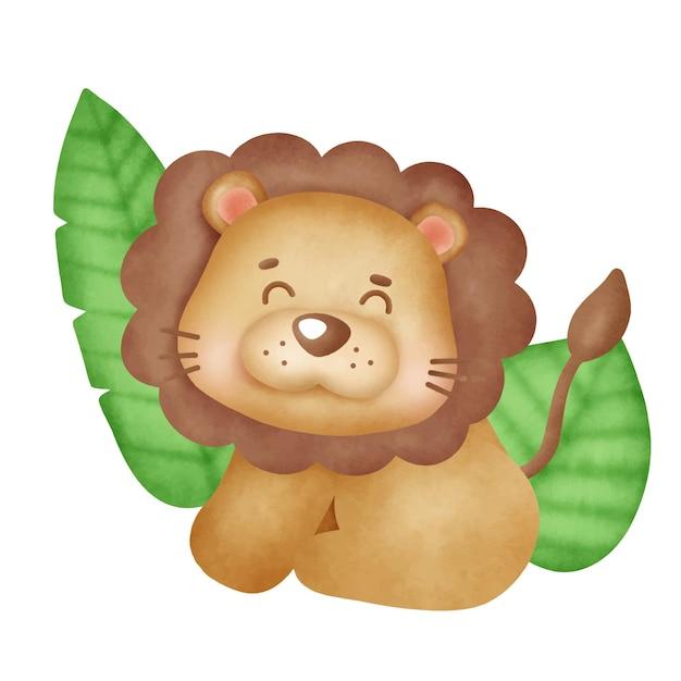 Hand drawn cute baby lion illustration .