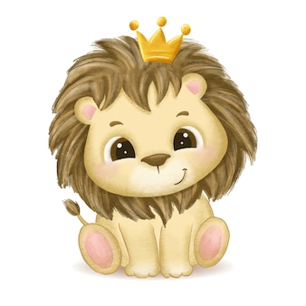 Hand drawn cute baby lion illustration