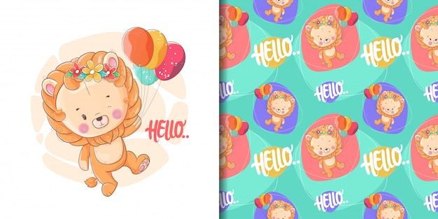 Hand drawn cute baby lion with balloons and pattern