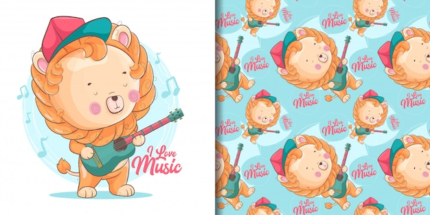 Hand drawn cute baby lion with guitar and pattern