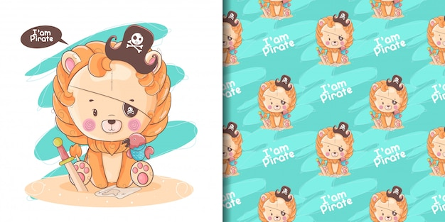 Hand drawn cute baby lion with pirate custom and pattern