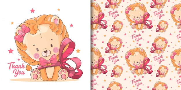 손으로 그린 귀여운 아기 사자 빨간 리본 및 패턴