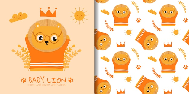 Hand drawn cute baby lion with seamless pattern