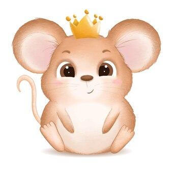 Нарисованная рукой иллюстрация милой мыши младенца