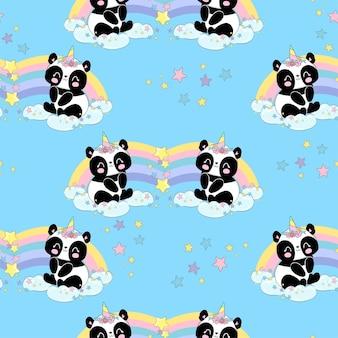 손으로 그린 귀여운 아기 팬더 유니콘과 무지개 원활한 패턴 벡터 일러스트 레이 션, 유치 한 인쇄 여름