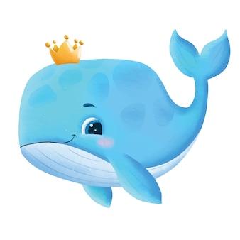 Нарисованная рукой иллюстрация милого детеныша кита