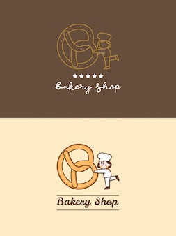 Hand drawn cute bakery shop pretzel with little chef and five stars logo template set