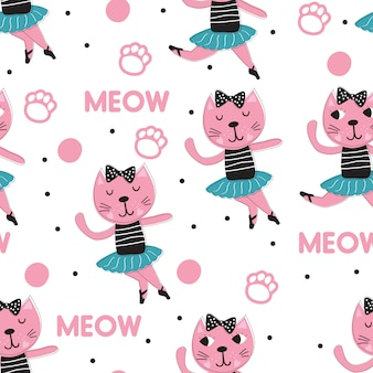 Hand drawn cute ballet cat with pattern vector set